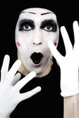 Surprised mime in white gloves — Stock Photo