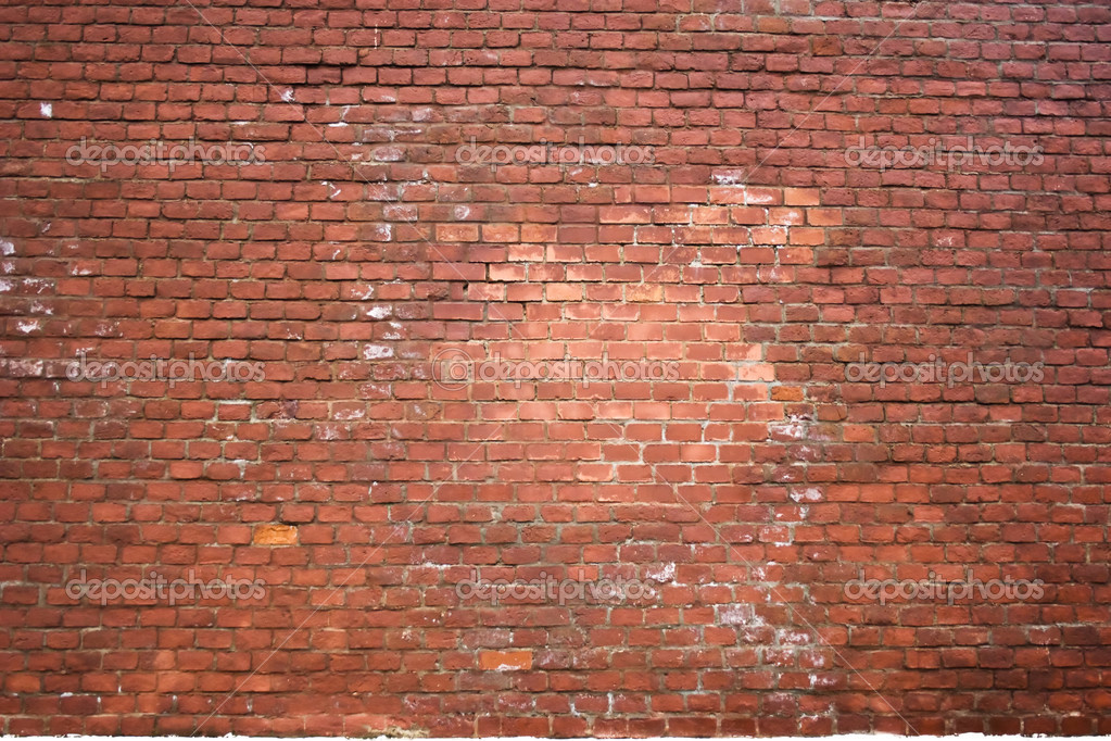 Structure of an old red brick wall with white stains — Stock Photo #1604037