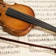 Old violin and bow on musical notes — Stock Photo