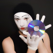 Mime with cd — Stock Photo #1693243