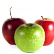 Isolated three apple on white background - Stock Photo