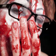 Mime in glasses with blood - Stock Photo