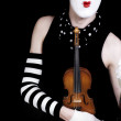 Mime with  violin and sunglasses — Stock Photo