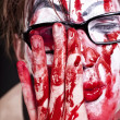 Mime in glasses with blood — Stock Photo