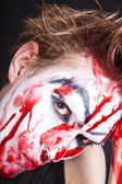 Mime with stained blood feca close up — Stock Photo