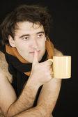 Adam sakin ol ve çay — Stok fotoğraf