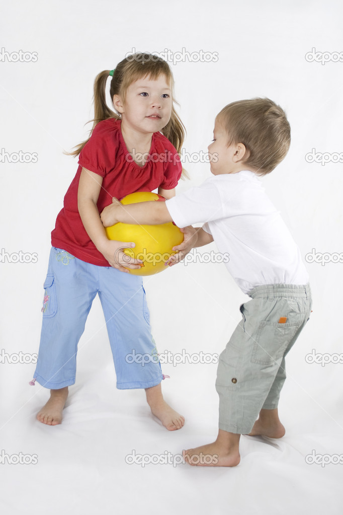 Kids Play Ball. Conflict situation. — Stock Photo © sundikova ...: depositphotos.com/1592746/stock-photo-kids-play-ball-conflict...