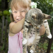 Girl with kitten — Stock Photo #1606258