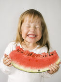 Girl and Watermelon — Stock Photo