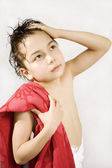 Boy with the red towel — Stock Photo