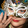 Woman Behind the Mask — Stock Photo