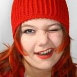 Happy red girl — Stock Photo