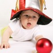 Small boy in the hat of jester — Stock Photo #1612921