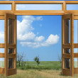 Opened to sky door - Stock Photo