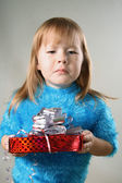 Girl with unpleasant gift — Stock Photo