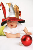 Small boy in the hat of jester — Stock Photo