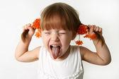Sacando la lengua — Foto de Stock