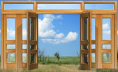 Opened to sky door — Stock Photo