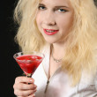 Girl with Martini — Stock Photo