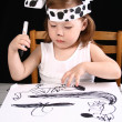 Small girl draw — Foto Stock