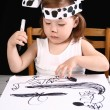 Small girl draw — Stock fotografie