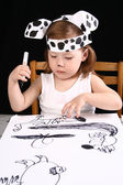 Small girl draw — Stockfoto