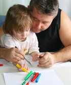 Father and daughter Drawing — Stok fotoğraf