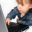 Girl Using Laptop. — 图库照片