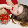 Girl with strawberry — Stock Photo #2138623