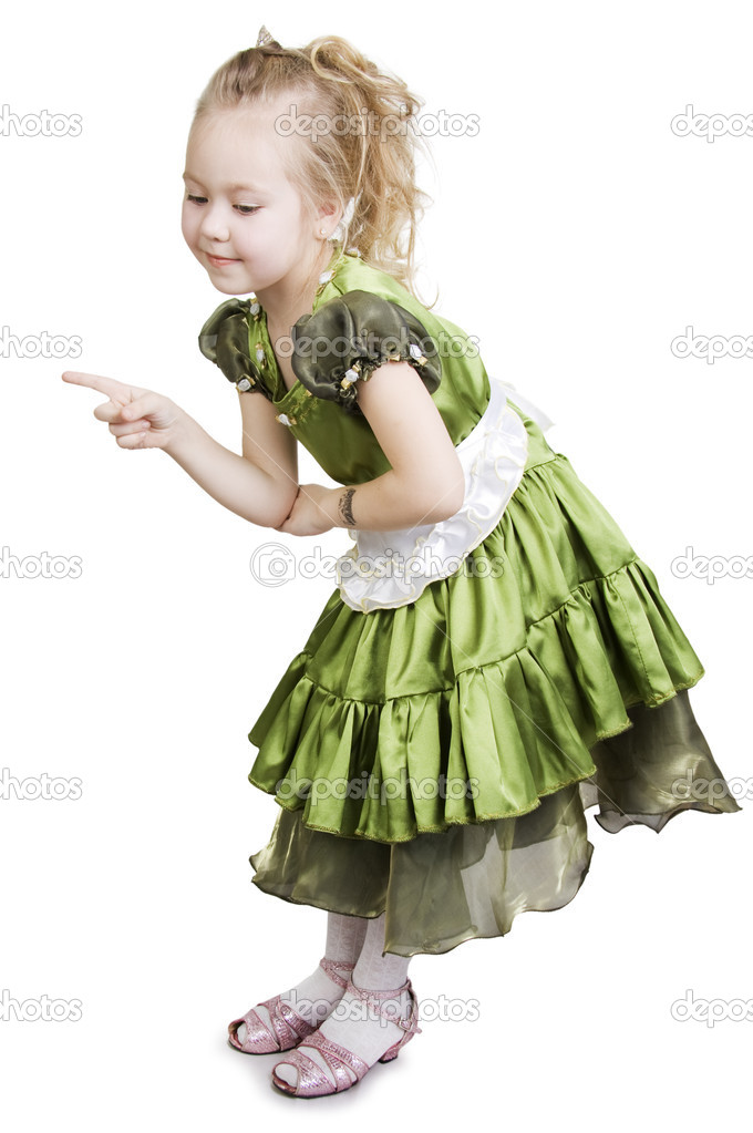Little girl dressed as a pretty green princess. — Stock Photo #2145595