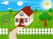 Hus på landet — Stockvektor