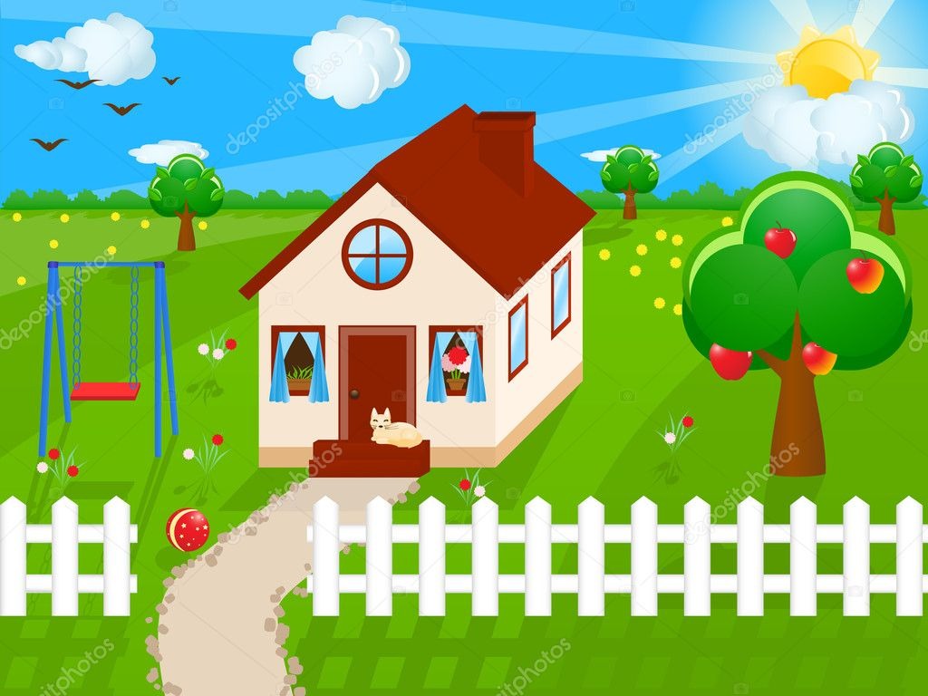 Vector illustration of a country house — Stock Vector #1581836