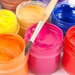 Paints and paintbrush — Stock Photo