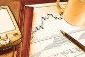 Pda på börskursdiagram — Stockfoto