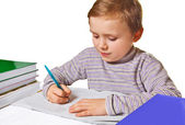 Boy doing homework — Foto Stock