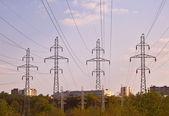 Kraftledningsstolparna — Stockfoto