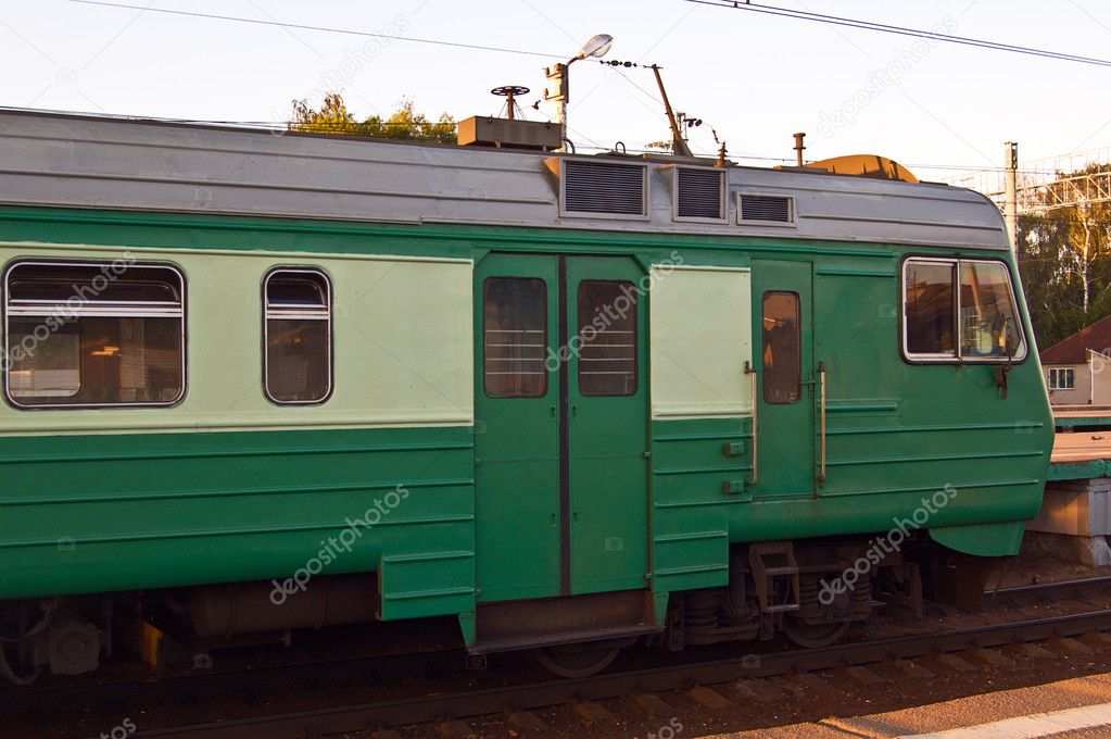 Commuter train waiting at station — Stock Photo #1593296