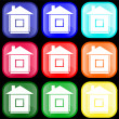Vector de stock : Icon of house on buttons