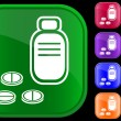 Vector de stock : Icon of prescription bottle and pills