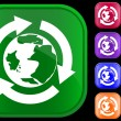 Earth icon in recycling circle — Vector de stock #1613575