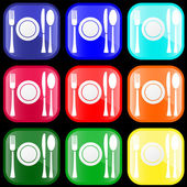 Icon of flatware on buttons — Stock Vector