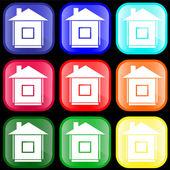 Evin üstünde düğme simgesi — Stok Vektör