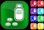 Pictogram van voorschrift fles en pillen — Stockvector