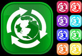 Earth icon in the recycling circle — ストックベクタ