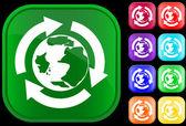 Earth icoontje in de recycling cirkel — Stockvector