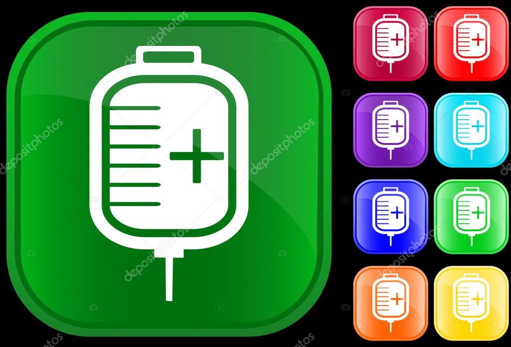 Icon of IV drip on shiny buttons  Stock Vector #1612762