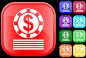 Ikona żetony kasyna — Wektor stockowy