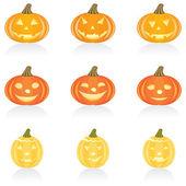 Icon set Halloween pumpkin — Stock Vector