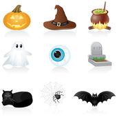 Ikonuppsättning halloween — Stockvektor