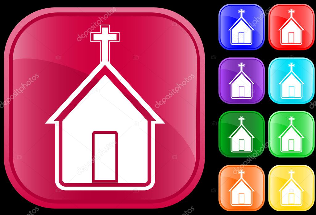 Icon of church on shiny square buttons — Stock Vector #1620147